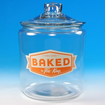 """BAKED BY FIRE-KING"" HERITAGE HILL GLASS JAR"