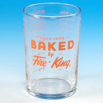 """BAKED BY FIRE-KING"" 5 OUNCE GLASS MEASURE"