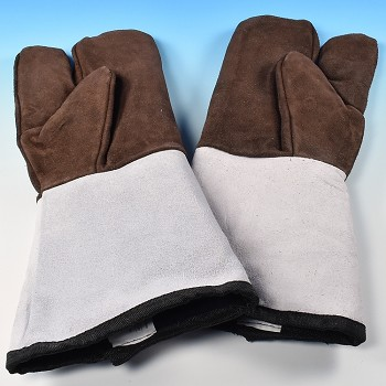 LEATHER OVEN GLOVES - 3 FINGER, PAIR